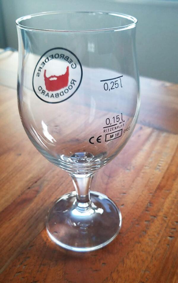 Roodbaard Glas achterkant 25cl bedrukt